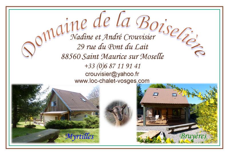 Coordonnées Chalets du Domaine de la Boiselière